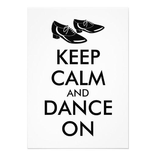 A dança calça customizável mantem a calma e dança convites personalizado