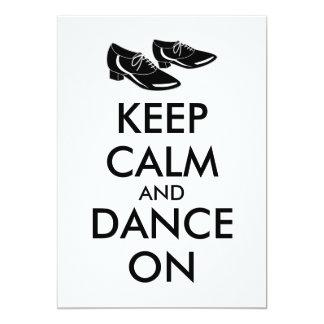 A dança calça customizável mantem a calma e dança convite 12.7 x 17.78cm
