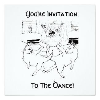 A dança dos gatos convite quadrado 13.35 x 13.35cm