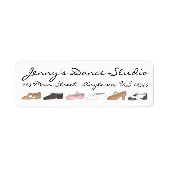 A dança personalizada calça etiquetas do estúdio etiqueta endereço de retorno
