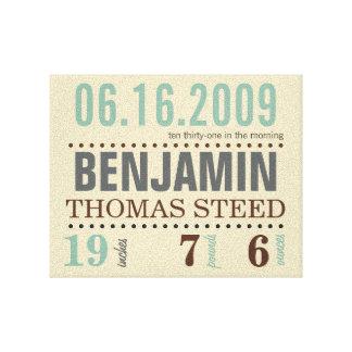 A data de nascimento do bebê detalha canvas -
