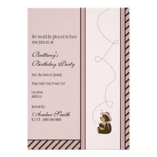 A diagonal bonito do urso de Brown listra o Convite Personalizado
