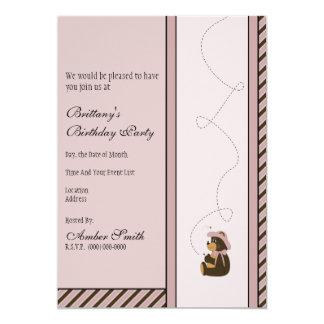 A diagonal bonito do urso de Brown listra o Convite 12.7 X 17.78cm