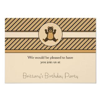 A diagonal feliz do urso de Brown listra o convite