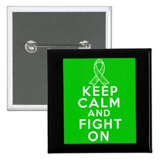 A doença bipolar mantem a calma e luta-a sobre bóton quadrado 5.08cm