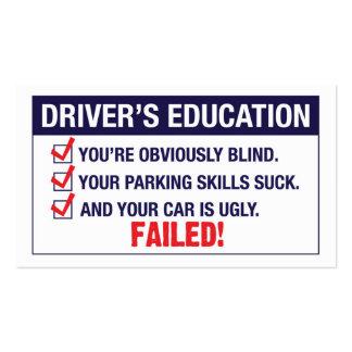 A educação do motorista FALHADA Cartão De Visita