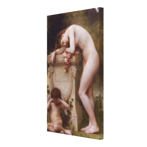 A elegia de Bouguereau (d'amour) de Douleur (1899) Impressão De Canvas Envolvida