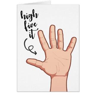 A elevação engraçada cinco ilustrou felicitações cartão de nota