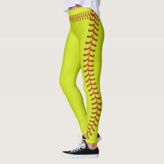 A emenda da bola do softball costura o teste leggings