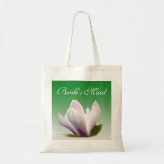 a empregada doméstica da noiva da flor da magnólia sacola tote budget