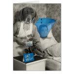 A enfermeira engraçada do cão do vintage obtem o c cartão