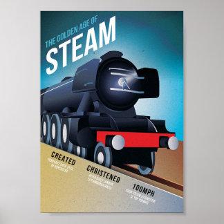 A época dourada da arte do trem do vintage do poster