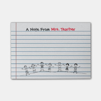 A escola bonito caçoa post-it do professor bloquinho de nota