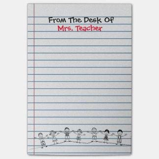 A escola bonito caçoa post-it do professor bloquinhos de notas