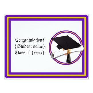 A escola do diploma do formando colore o roxo e o convite 10.79 x 13.97cm