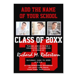 A escola vermelha, branca e preta colore a convite 12.7 x 17.78cm