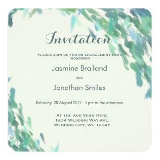 A escova impressionista afaga o casamento moderno convite quadrado 13.35 x 13.35cm