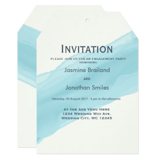 A escova pintada aguarela dos azul-céu afaga convite 12.7 x 17.78cm