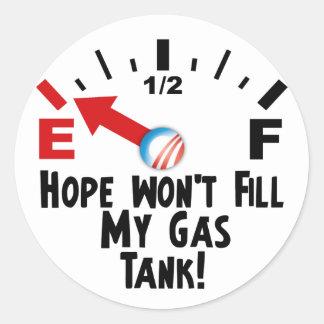 A esperança está em vazio - anti Barack Obama Adesivo Redondo