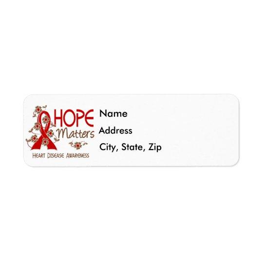 A esperança importa a doença cardíaca 3 etiqueta endereço de retorno