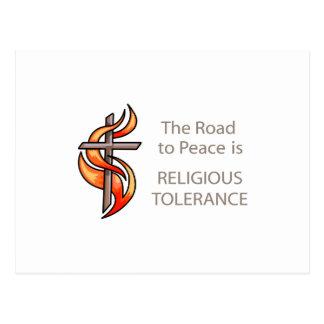 A estrada à paz é tolerância religiosa cartoes postais