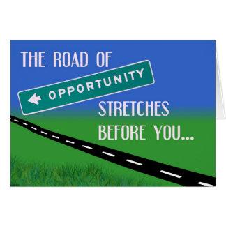 A estrada do cartão da oportunidade