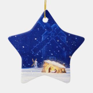 A estrela de Bethlehem & de DON QUIXOTE Ornamento De Cerâmica Estrela