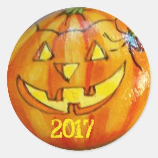 A etiqueta 2017 do Dia das Bruxas Jack O'Lantern
