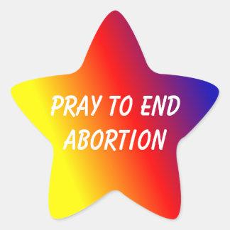 A etiqueta da estrela pray para terminar o aborto