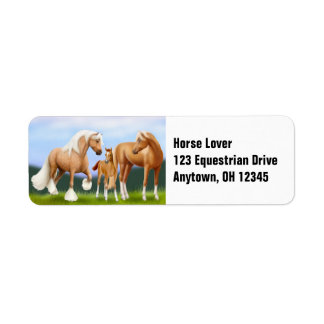 A etiqueta da família do cavalo etiqueta endereço de retorno