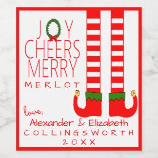 A etiqueta da garrafa de vinho do Merlot do Natal