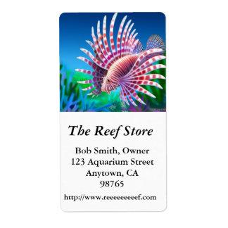 A etiqueta de Customizabel do Lionfish do recife Etiqueta De Frete