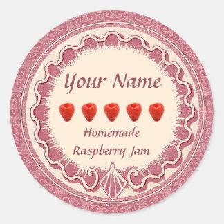 A etiqueta do doce de framboesa personaliza o rosa