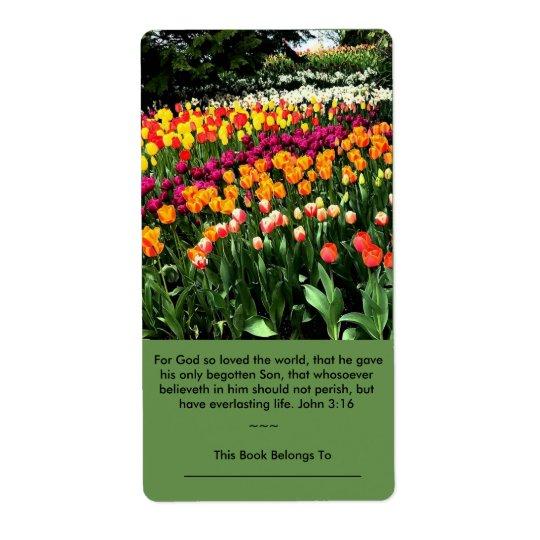 A etiqueta inspirada da tulipa pode ser usada como