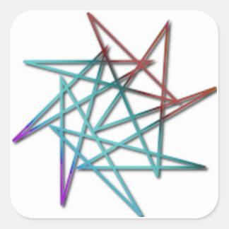 A etiqueta louca da estrela adesivo quadrado