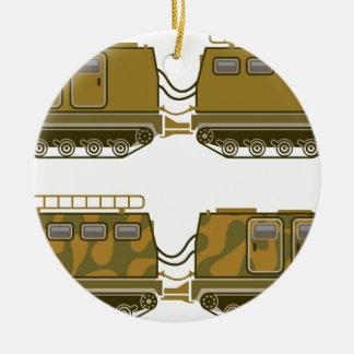 A expedição militar seguiu o trator ornamento de cerâmica redondo
