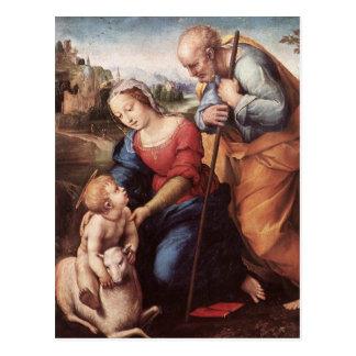 A família santamente com cordeiro cartões postais