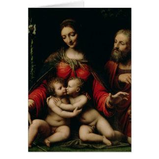 A família santamente com o St John infantil Cartão Comemorativo