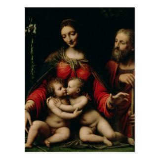 A família santamente com o St John infantil Cartão Postal