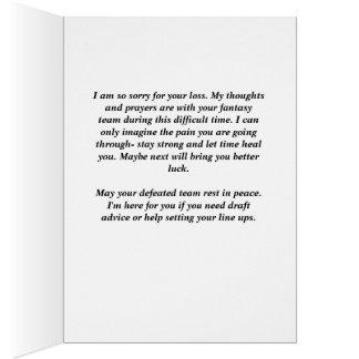 """A fantasia ostenta o cartão de simpatia """"pesaroso"""