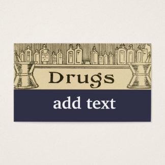A farmácia droga o anúncio de jornal retro do cartão de visitas