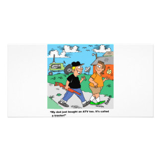 A fazenda caçoa desenhos animados de ATV /Tractor Cartão Com Foto