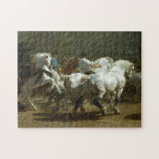 A feira de cavalo pelo quebra-cabeça de serra de