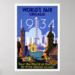 A feira de mundo 1934 de Chicago do poster das via