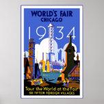 A feira de mundo 3 1934 de Chicago do poster das v