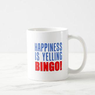 A felicidade está gritando a caneca do Bingo