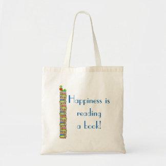 A felicidade está lendo um livro sacola tote budget