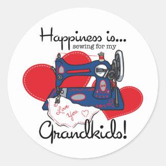 A felicidade Sewing Adesivo Em Formato Redondo