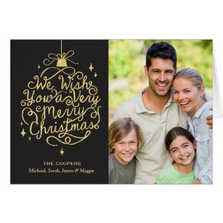 A feliz do brilho do ouro deseja a foto do Natal Cartão Comemorativo