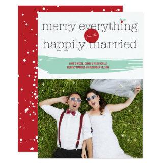 A feliz tudo casou feliz o cartão com fotos